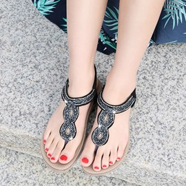 Ericdress PU Rhinestone Thong Elastic Band Women's Flat Sandals