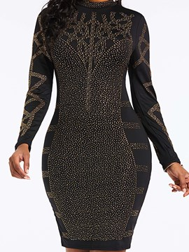 Ericdress Sequins Above Knee Long Sleeve Black Dress