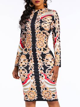 Ericdress Knee-Length Long Sleeve Print Bodycon High Waist Dress
