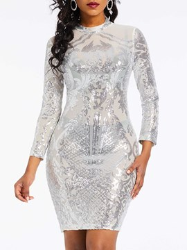 Ericdress Sequins Above Knee Long Sleeve Dress