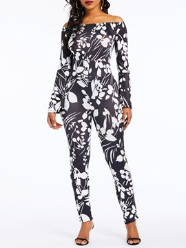 Ericdress Print Print Sexy Off Shoulder Pencil Pants Jumpsuit