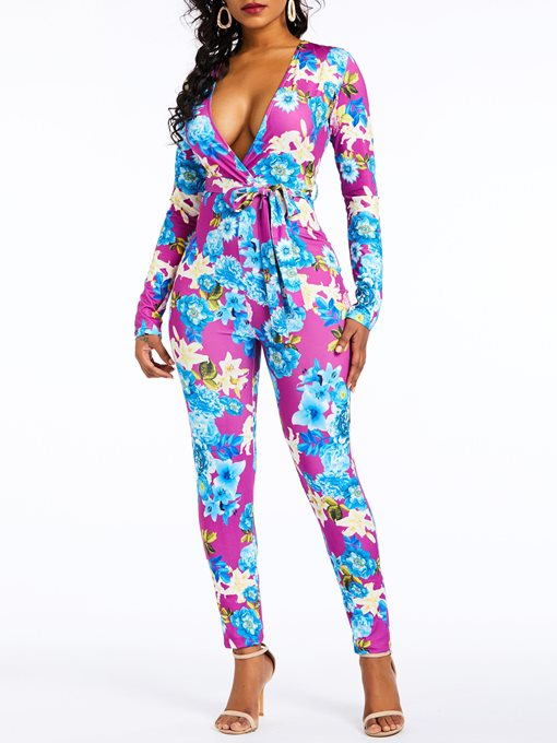 Ericdress Casual Floral Lace-Up Print Sexy Jumpsuit