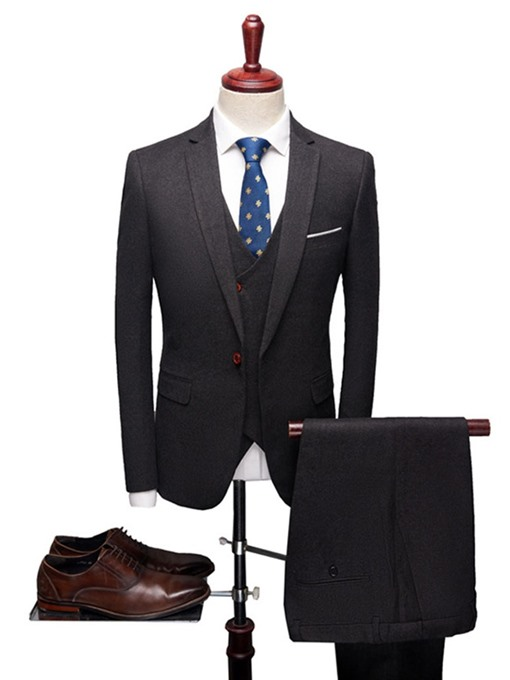 Ericdress Plain One Button Blazer Vest & Pants Mens Dress Suit