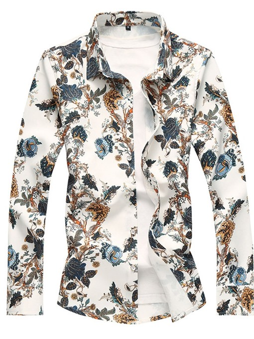Ericdress Floral Printed Lapel Button Up Mens Casual Shirts