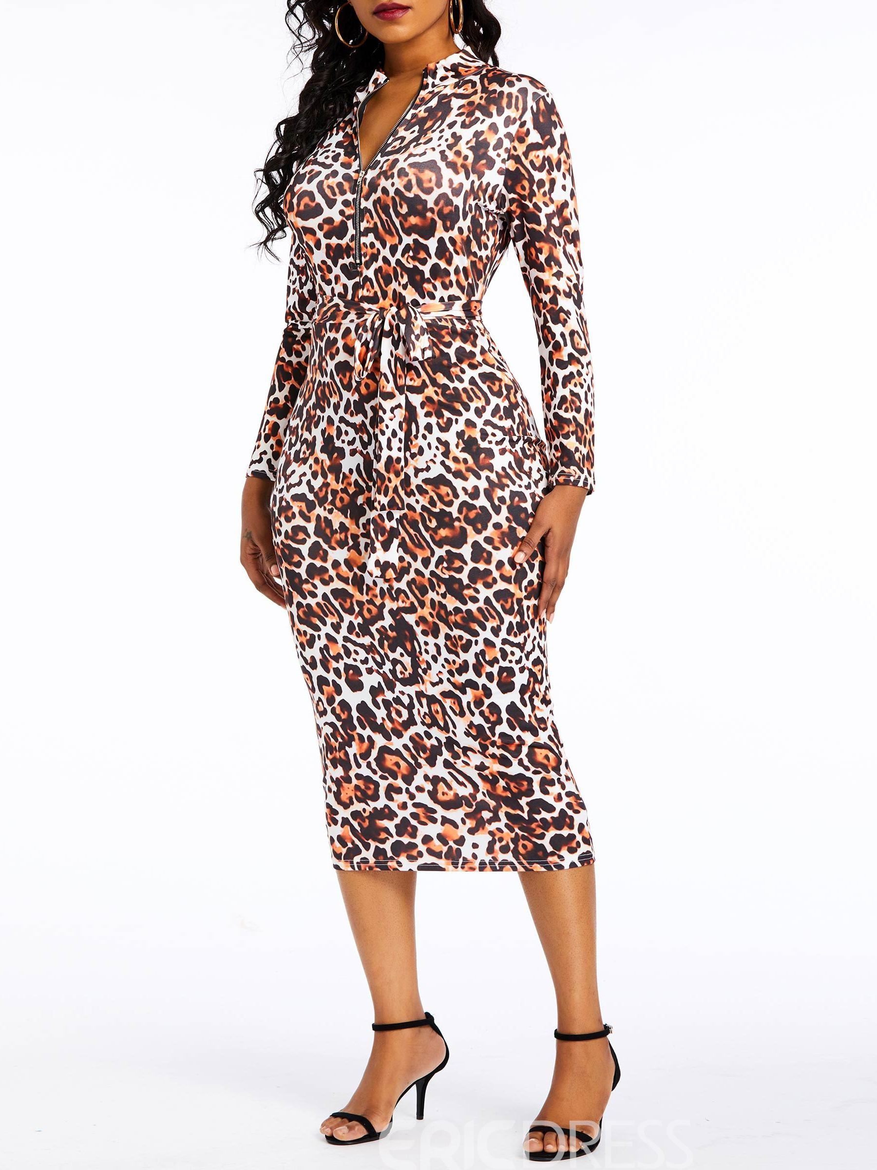 Ericdress Leopard Zipper Three-Quarter Sleeve Bodycon Zipper Dress
