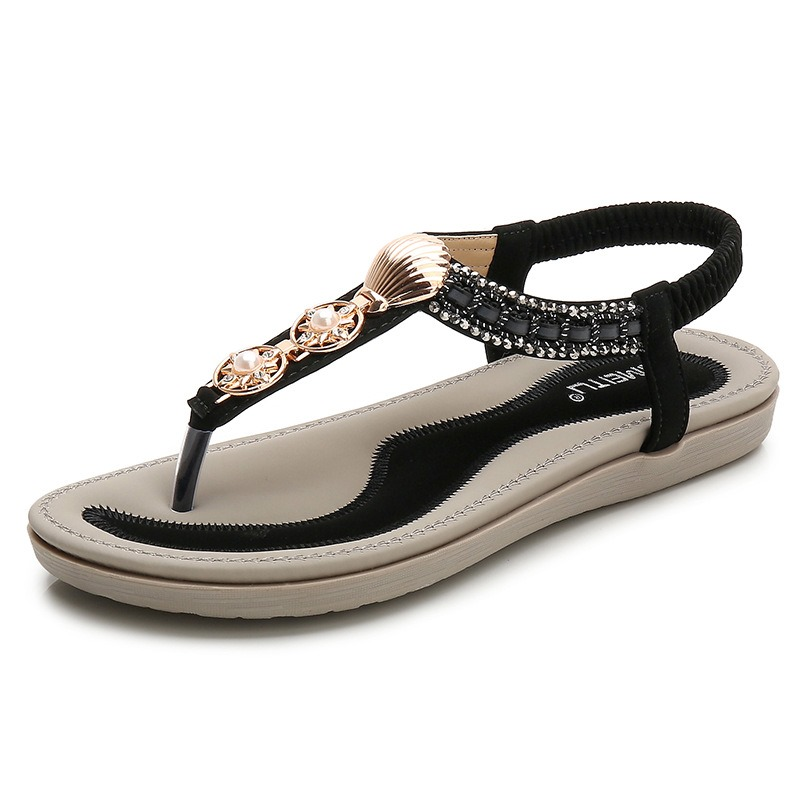 Ericdress PU Thong Elastic Band Women's Flat Sandals