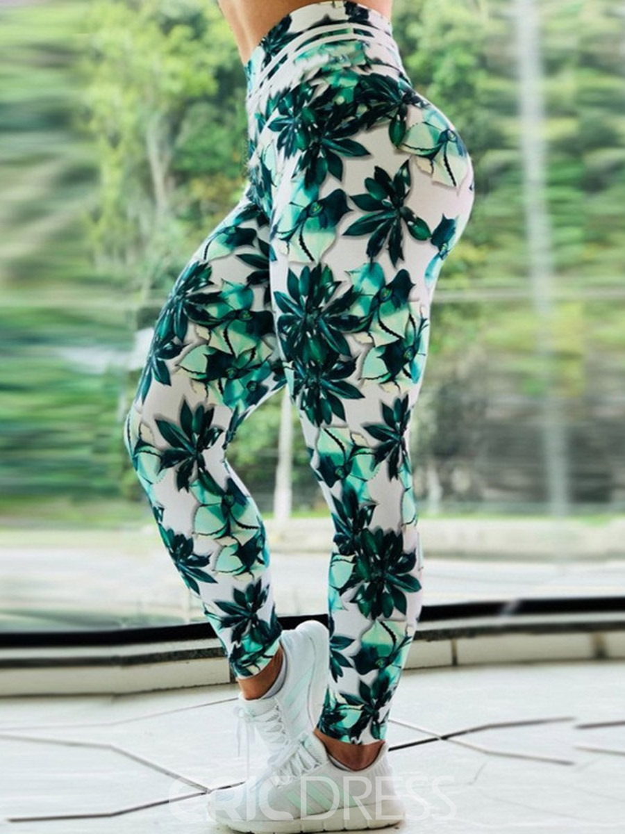 Ericdress Breathable Print Push Up Gym Sport Leggings