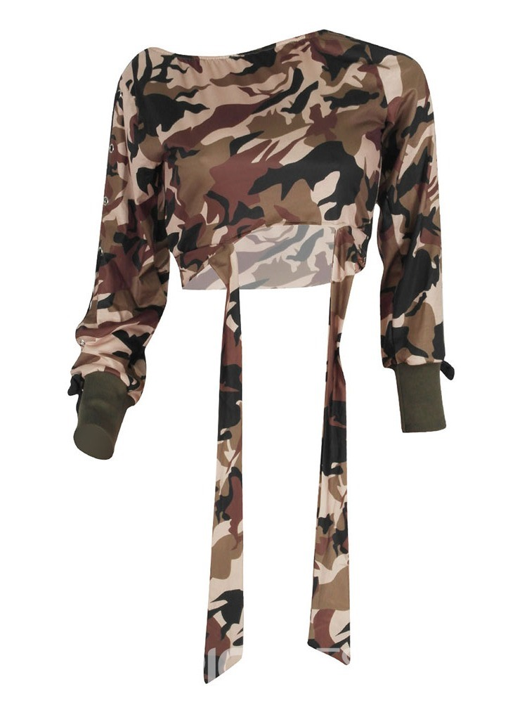 Ericdress Camouflage Long Sleeve Oblique Collar Slim Spring T-Shirt