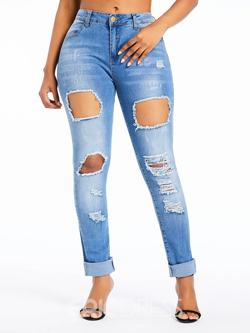 Ericdress Hole Plain High-Waist Slim Jeans
