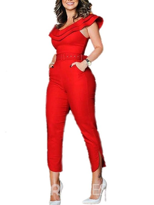 Ericdress Ruffles Split Casual Pocket High-Waist Jumpsuit