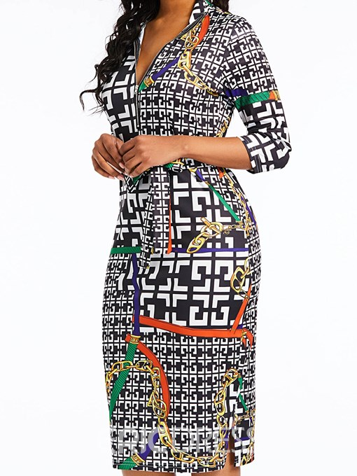 Ericdress African Fashion Print V-Neck Bodycon Sexy Dress