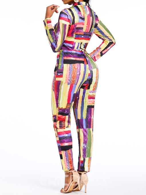 Ericdress Sexy Print Color Block Slim Zipper Jumpsuit