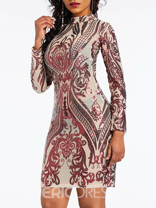 Ericdress Long Sleeve Sequins Stand Collar Above Knee Dress