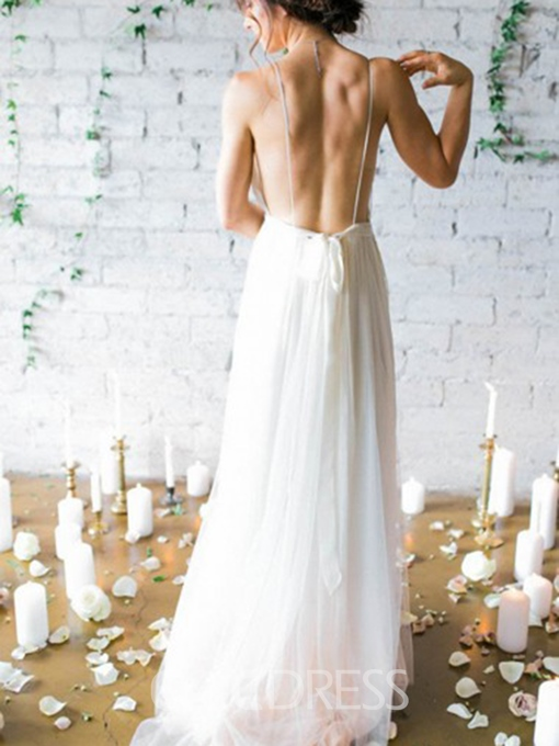 Ericdress Spaghetti Straps Backless Beach Wedding Dress