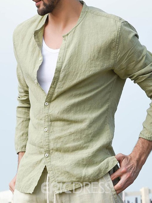 Ericdress Plain Stand Collar Single-Breasted Mens Casual Shirt