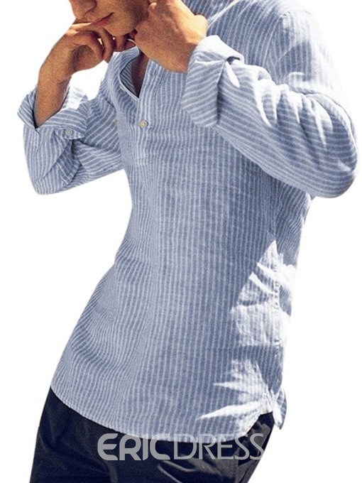 Ericdress Striped Button Stand Collar Mens Casual Shirt