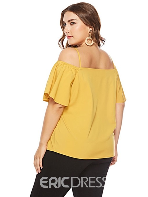 Ericdress Plus Size Off-Shoulder Flare Sleeve Blouse