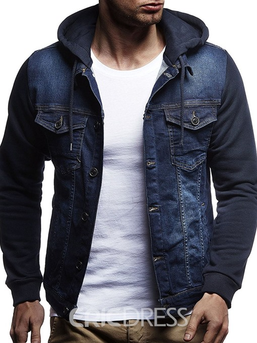 Ericdress Plain Patchwork Hooded Single-Breasted Mens Denim Jacket