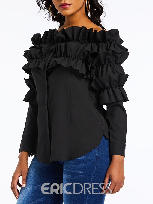 Ericdress Patchwork Plain Mid-Length Ruffles Blouse