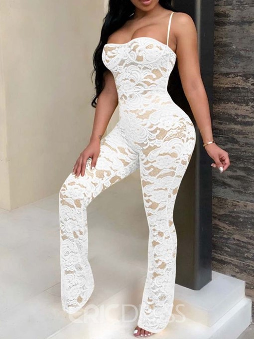 Ericdress Sexy See-Through Lace Slim Party Jumpsuit