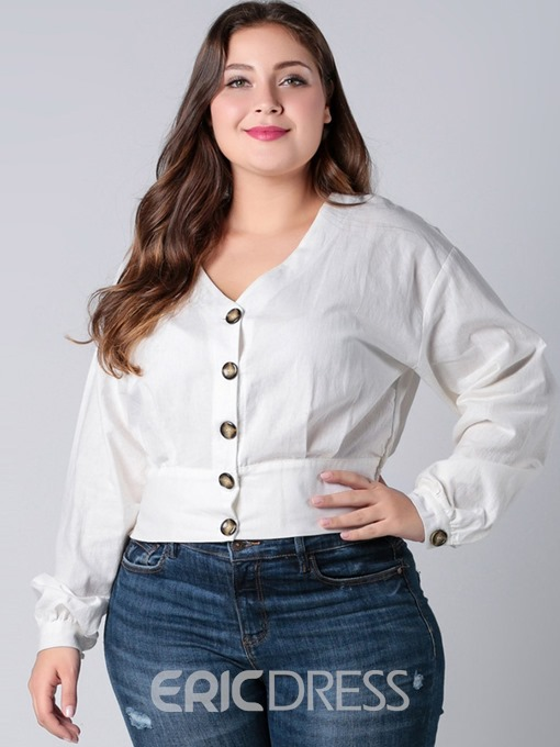 Ericdress Plus Size Lantern Sleeve Button V-Neck Long Sleeve Standard Blouse