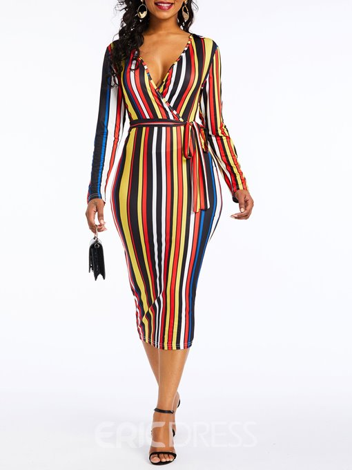 Ericdress Long Sleeve Mid-Calf Patchwork Fall Pullover Dress