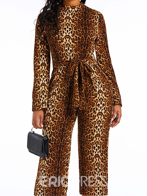 Ericdress Leopard Belt Print Slim Loose Jumpsuit