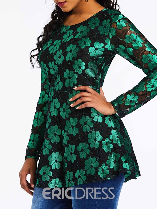 Ericdress Print Round Neck Regular Mid-Length Long Sleeve Blouse