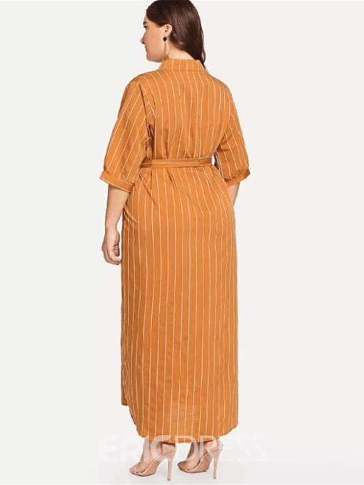 Ericdress Plus Size Half Sleeve Lace-Up Ankle-Length Stripe Dress