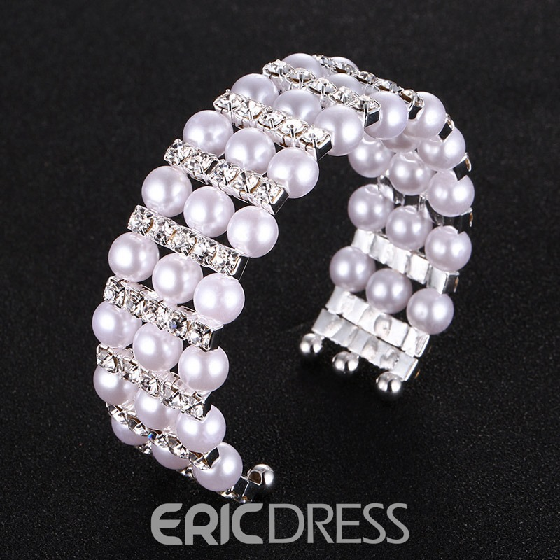 Ericdress Pearl Diamante Bracelet For Women