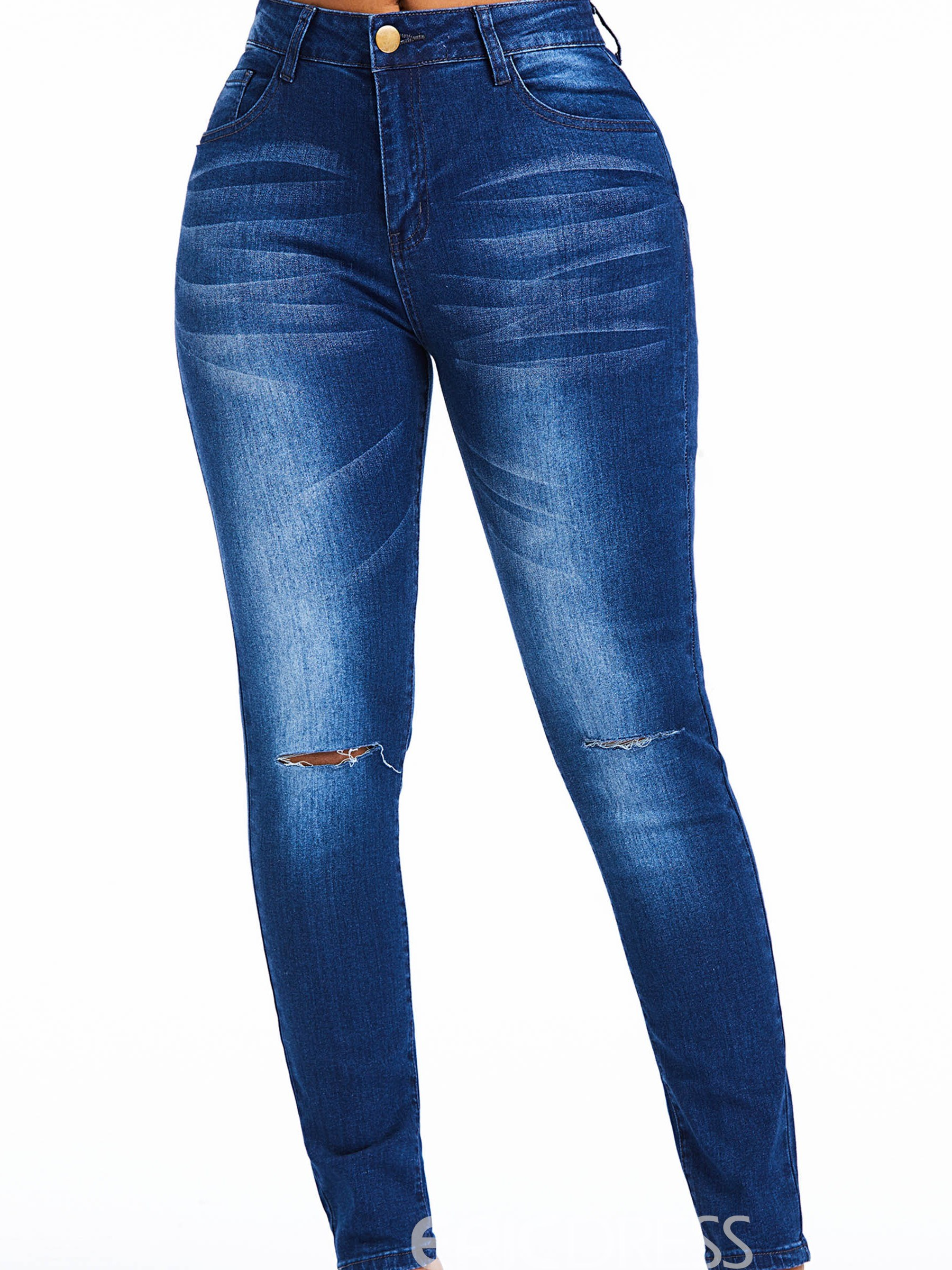 Ericdress Hole Plain Skinny High-Waist Fashion Jeans