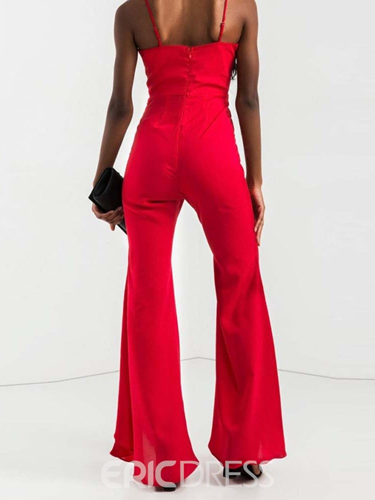 Ericdress Sexy Strap Plain Bead Bellbottoms Jumpsuit