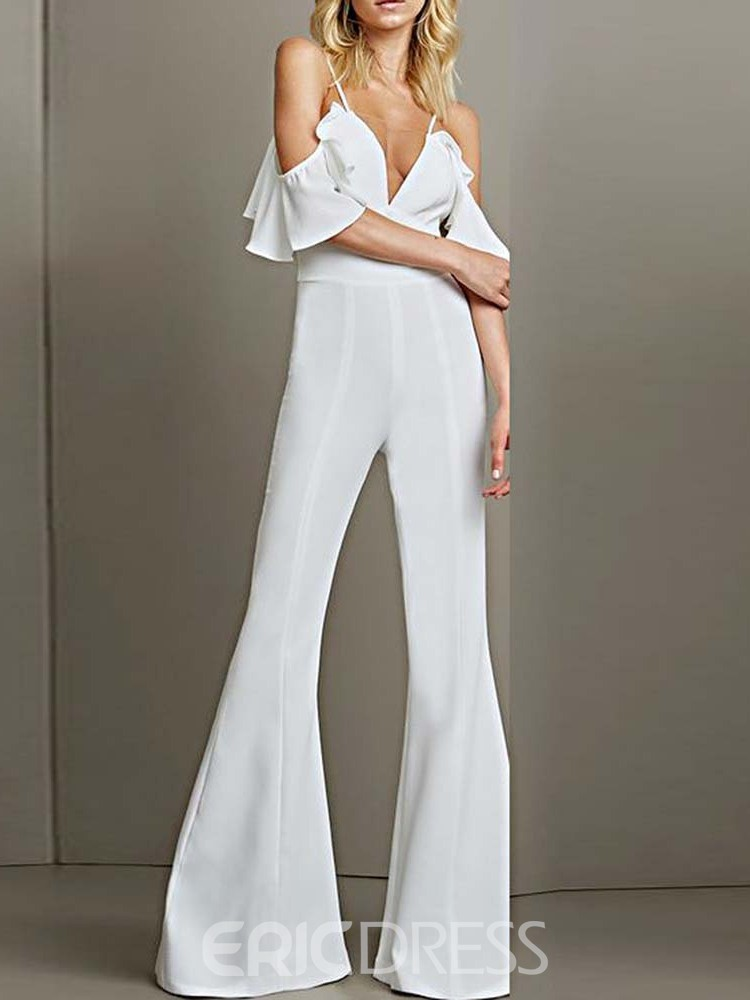 Ericdress Strap Sexy Backless Bellbottoms High-Waist Jumpsuit