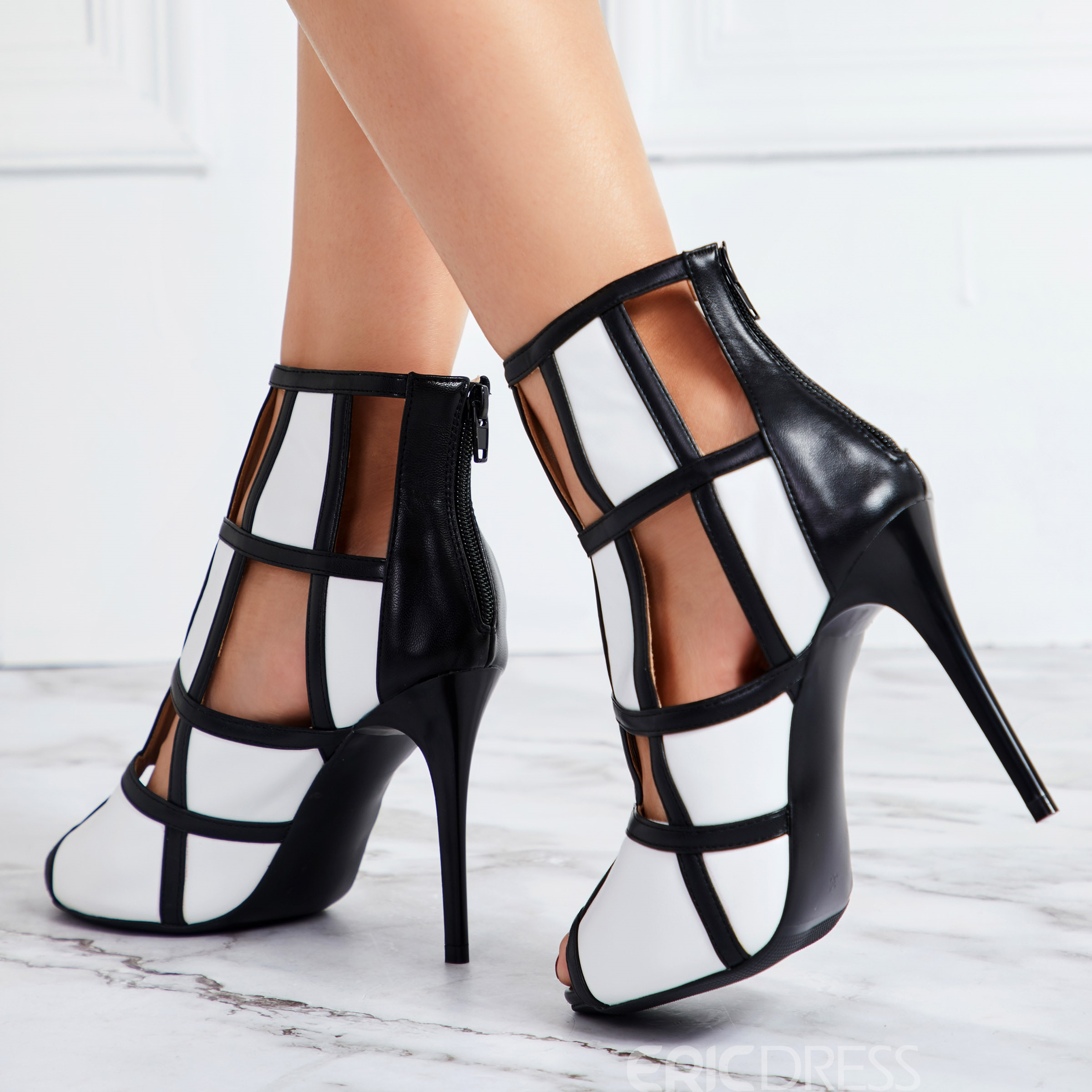 Ericdress PU Peep Toe Zipper Hollow Stiletto Heel Women's Sandals