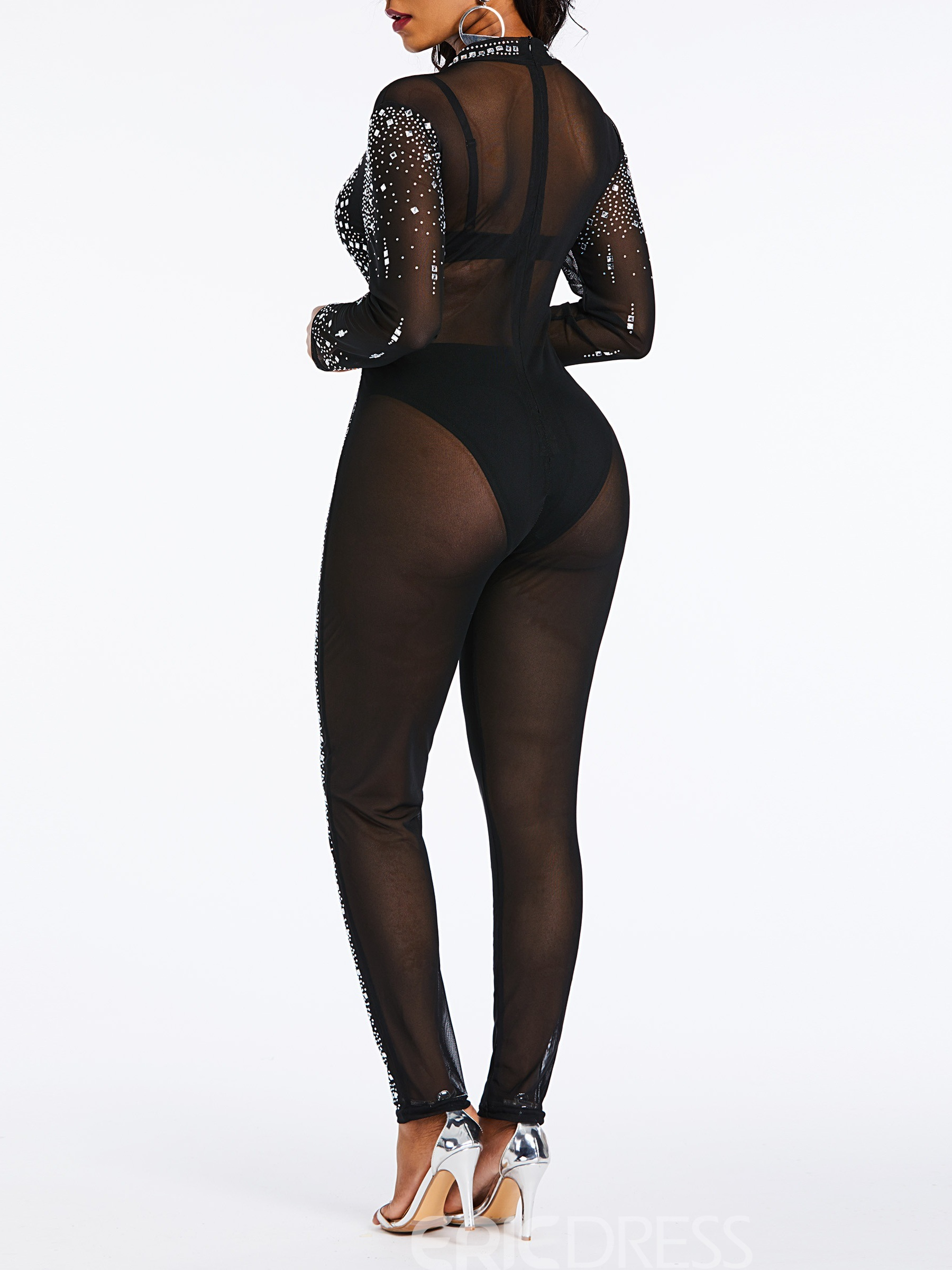 Ericdress See-Through Bead Sexy Party Slim Women's Jumpsuit