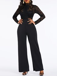 Ericdress Lace Plain Patchwork See-Through Date Night Womens Jumpsuit thumbnail