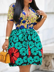 Ericdress African Fashion Knee-Length A Line Pleated Dress thumbnail