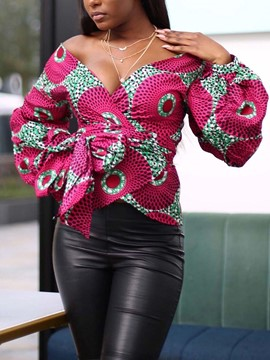 Ericdress Lantern Sleeve V-Neck Print Long Sleeve Standard Blouse