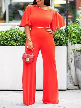 Ericdress Plain Bead Date Night Wide Leg Oblique Collar Jumpsuit(Without Waistband)