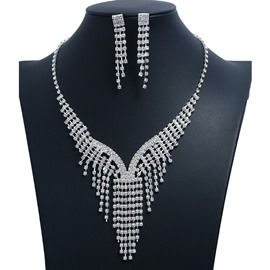 Ericdress Silver Diamante Jewelry Set