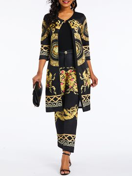 Ericdress Dashiki African Style Totem Print Casual Coat and Pants Two Piece Set