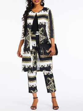 Ericdress African Print Geometric Color Block Casual Two Piece Set