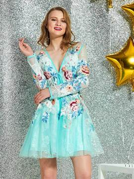 Ericdress Short Long Sleeves A-Line V-Neck Cocktail Dress 2019