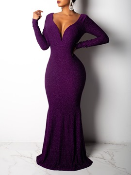 Ericdress V-Neck Backless Long Sleeve Party Dress