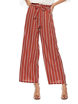 Ericdress Loose Striped Lace-Up Wide Legs High-Waist Casual Pants