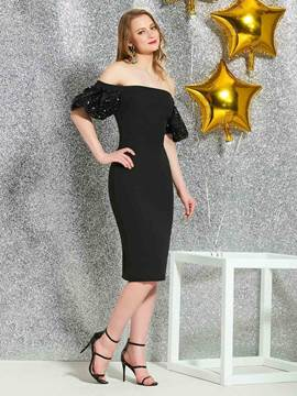 Ericdress Sheath Knee-Length Sequins Black Cocktail Dress 2019
