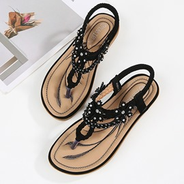 Ericdress PU Appliques Thong Elastic Band Women's Sandals