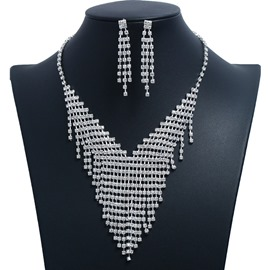 Ericdress Diamante V Jewelry Set