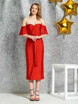 Ericdress Tea-Length Off-The-Shoulder Red Cocktail Dress 2019