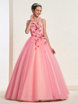 Ericdress One Shoulder Pleats Quinceanera Dress 2019